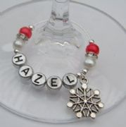 Retro Snowflake Personalised Wine Glass Charm - Elegance Style